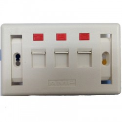 AMP US Style Decorator Faceplate Kit 2-Port Shutter, White, with Label 2-1427030-2